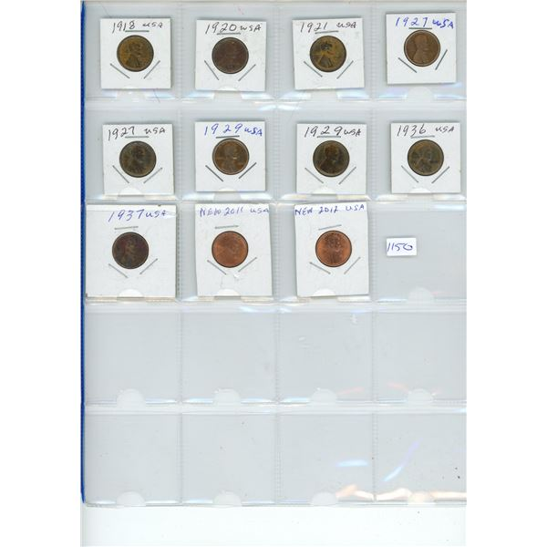 1919-2012 United States Pennies - 11 Piece