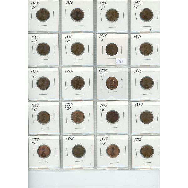 1964-1976 United States Pennies - 20 Piece