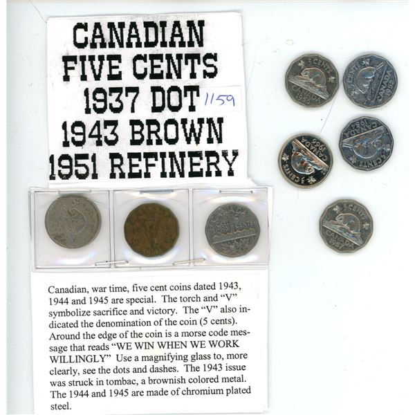 37' Dot, 43' Brown, 51' Refinery and 5 other Canadian 5 Cent Coins - 8 Pieces