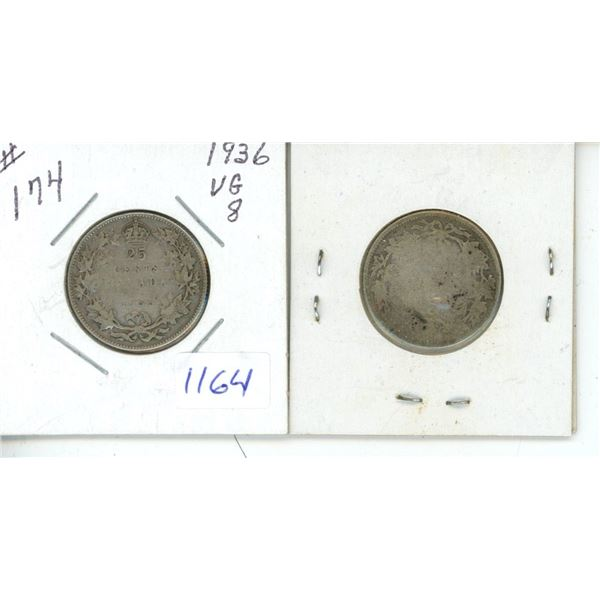 1936 Canadian 25 Cent Coins - 2 Piece