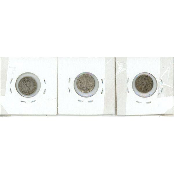 1908, 1918, 1942 Austrian Silver 3 Pence Coins - 3 Piece