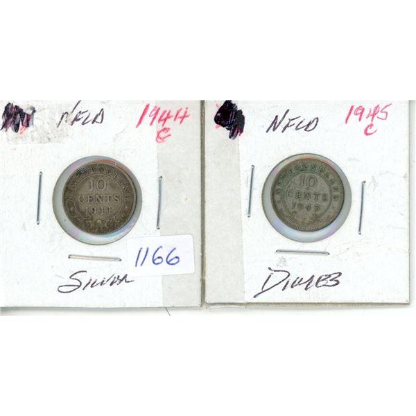 1945, 1944 Newfoundland 10 Cent Coins