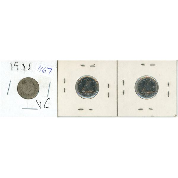 1931, 1968, 1968 Canadian 10 Cent Coins - 3 Piece