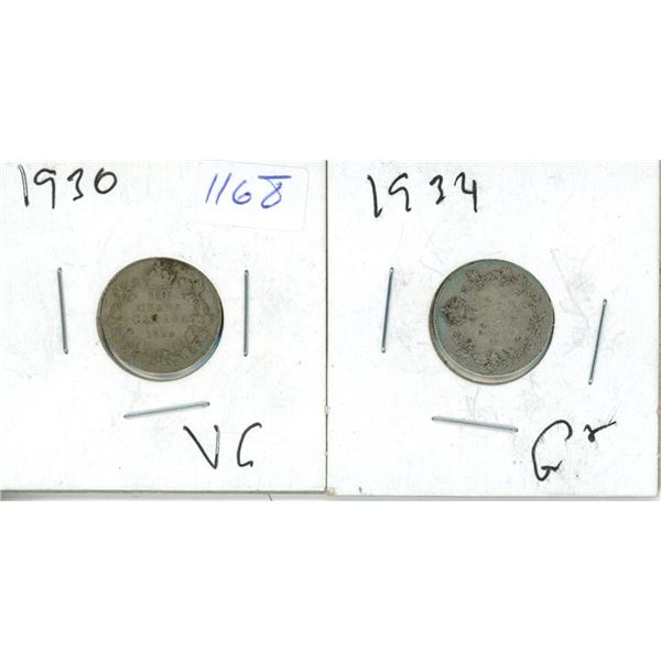 1930, 1934 Canadian 5 Cent Coins - 2 Piece