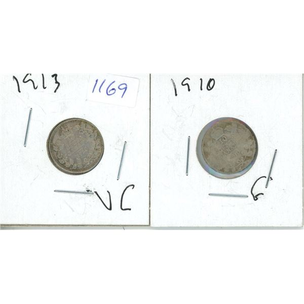 1910, 1913 Canadian 10 Cent Coin - 2 Piece
