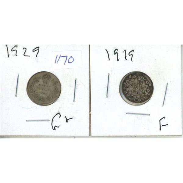 1919, 1928 Canadian 10 Cent Coin - 2 Piece