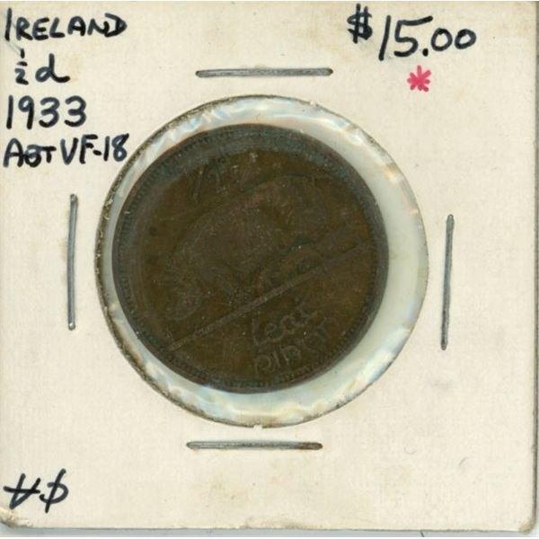 1933 Ireland 1/2d Coin