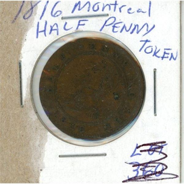 1816 Montreal Half Penny/ Token