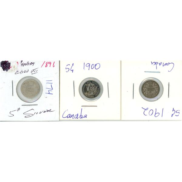 1891 Silver, 1900, 1902 Canadian 5 Cent Coin - 3 Piece