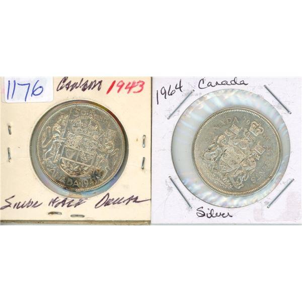 1943, 1964 Canadian Silver Half Dollar - 2 Piece