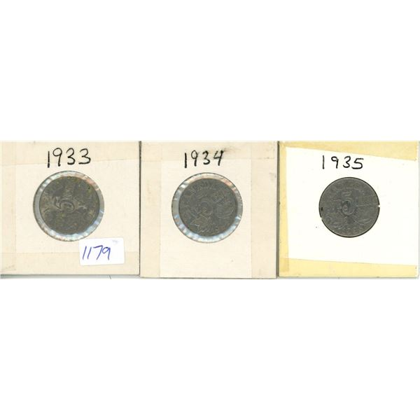 1933, 1934, 1935 Canadian 5 Cent Coins - 3 Piece