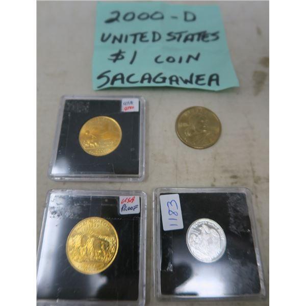 2000 Sacagawean Coin/Liberty Coin (1/10 Troy Oz. .999 Silver)/ 2006 US Proof Quarter(Nebraska)/2006