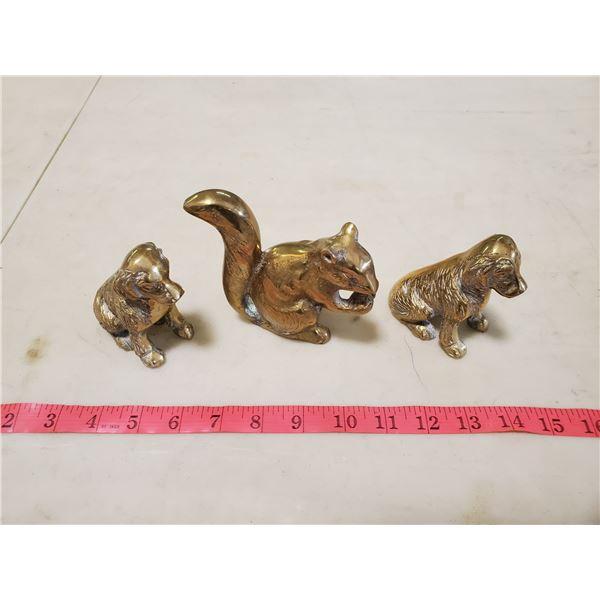 3 brass figures squirrel & dogs