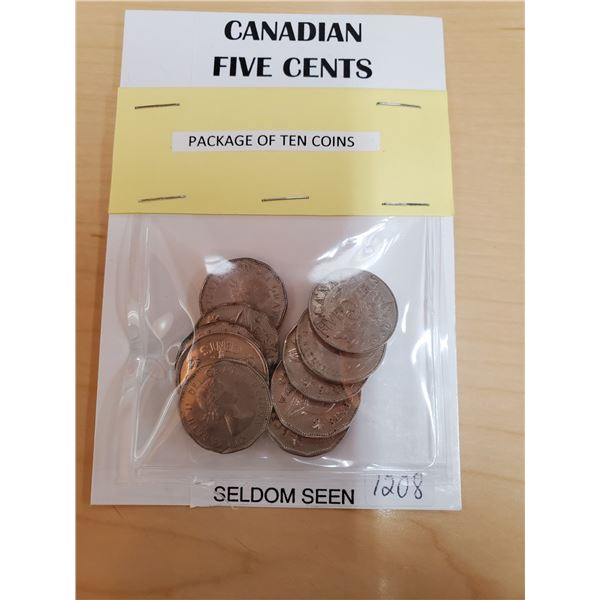 10X Canadian 5 Cent Coins