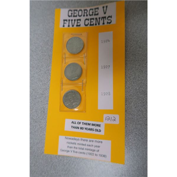 3X Canadian George V 5 Cent Coins