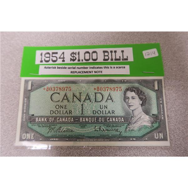 1954 Canadian One Dollar Bill