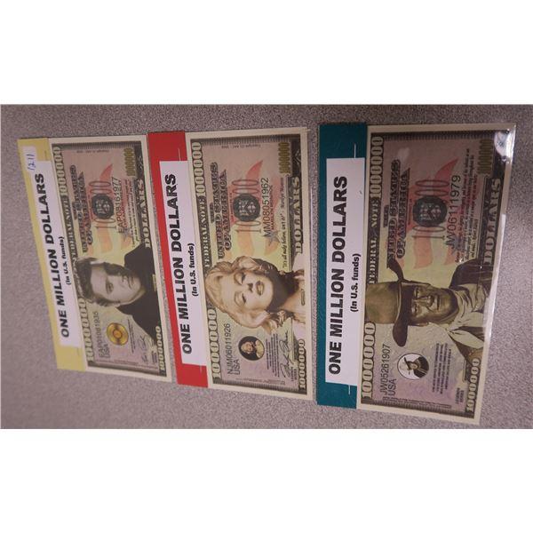 Souvenir 1,000,000 Dollar Bill (Marilyn Munroe, Elvis Presley and John Wayne)