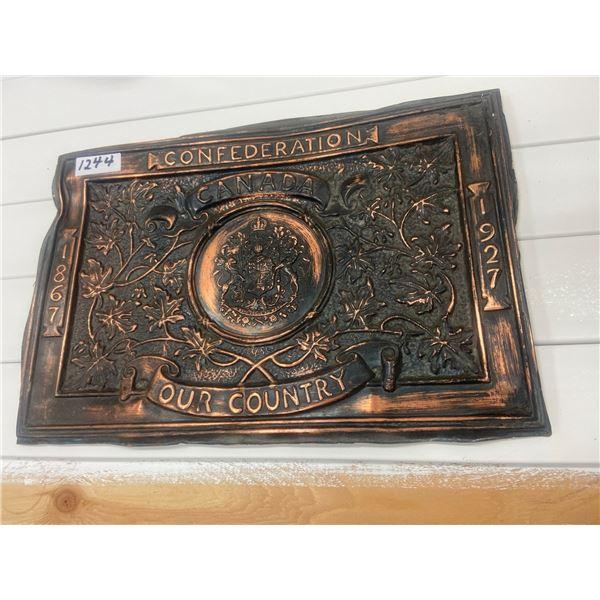 "Confederation copper plaque 1867-1927 18"" X 12"""