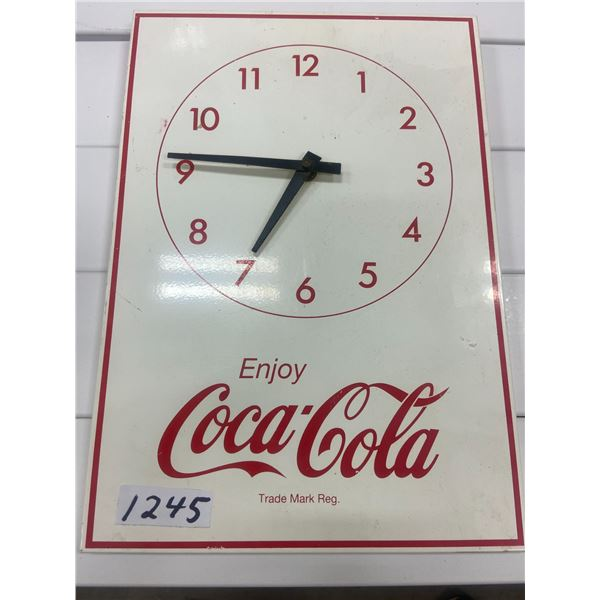"Coca-Cola clock, tin. Battery operated 13.5"" X 9.5"""