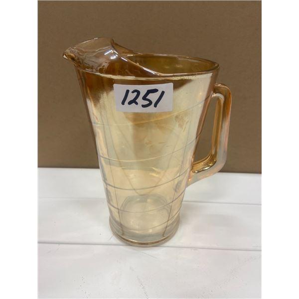 "retro glass pitcher 9"" tall"
