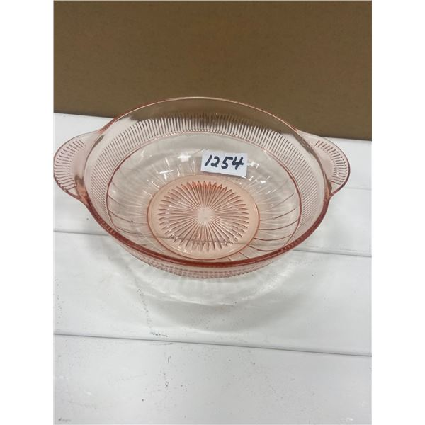 "Depression glass pink bowl 8"""