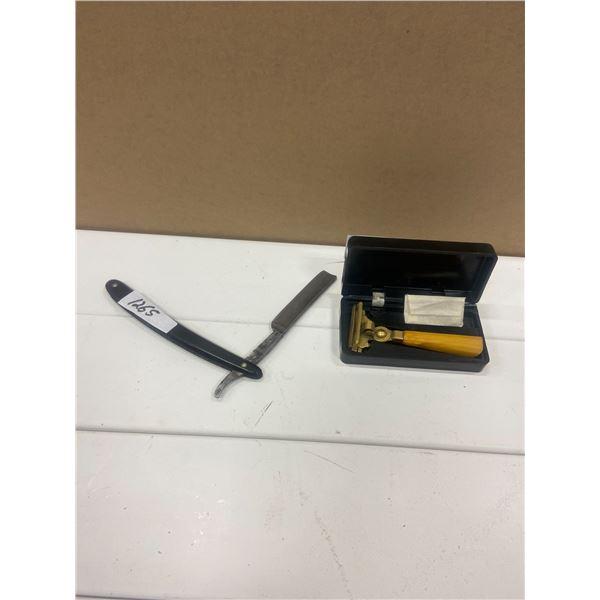 Straight razor, damaged & shick razor