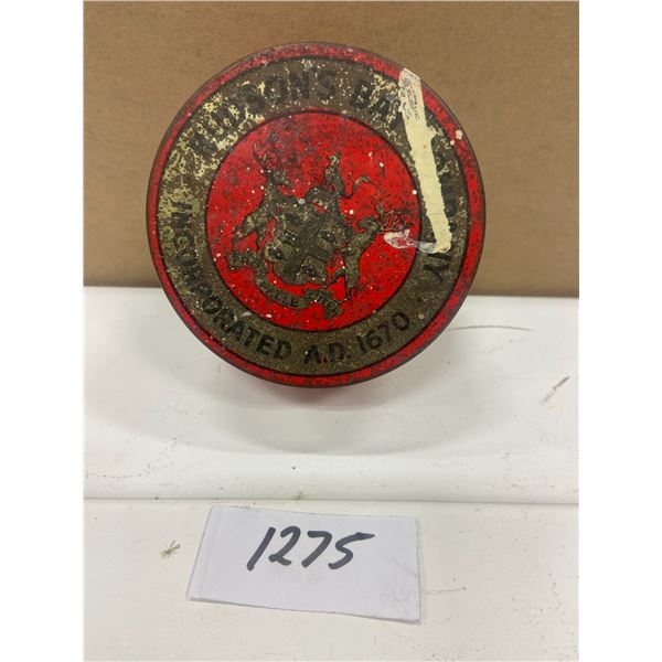 "Hudson's bay tobacco tin - rare. As found condition - 3.5""across 1.75"" tall"