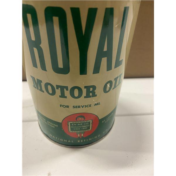 "1 quart Royal motor oil Slate Boy tin - ""Enarco"" top has been cut out - Rare"
