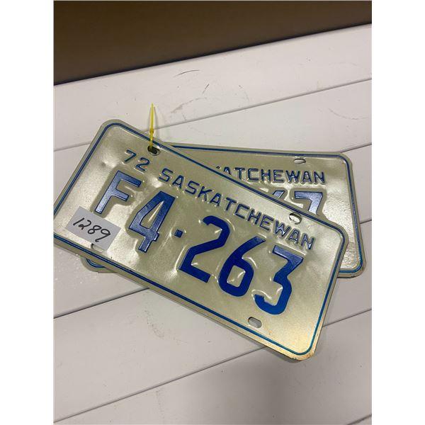 Pair of 1972 license plates