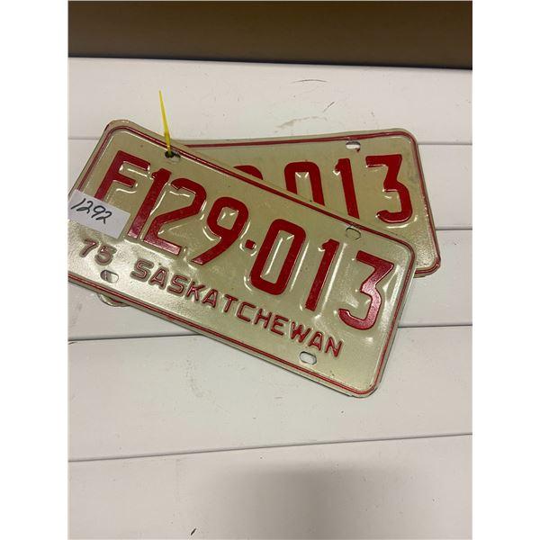 Pair of 1975 license plates