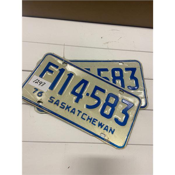 Pair of 1976 license plates