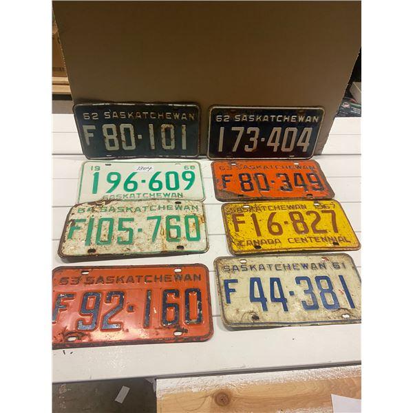 Lot of 8 1960's Saskatchewan license plates