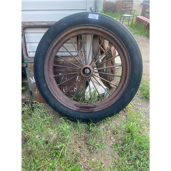 """Tire + Steel Spoked Rim - 7.50-36 - 48"""" Across, BF Goodrich Silver Town"""