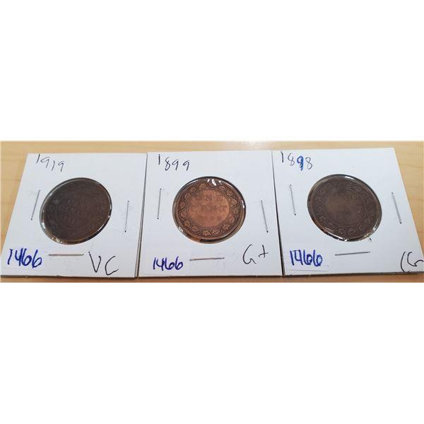 1898, 1899, 1919 large cent