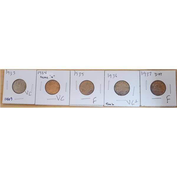 five 5 cents 1933-1937