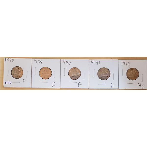 five 5 cents 1938-1942