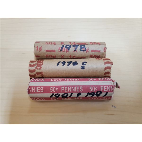 3 x canadian cent roll 1978, 1981-1991