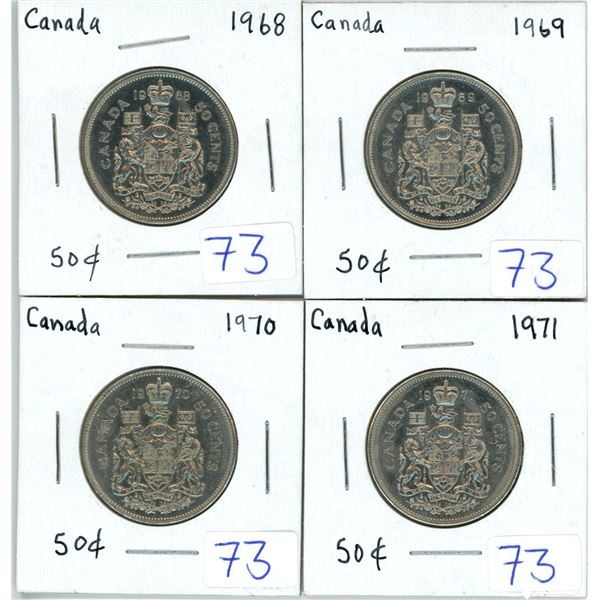 Set of 4 Canada 50 cent pieces - 1968, 1969, 1970, 1971