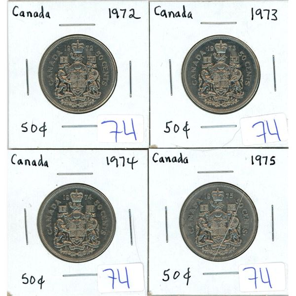Set of 4 Canada 50 cent coins - 1972, 1973, 1974, 1975