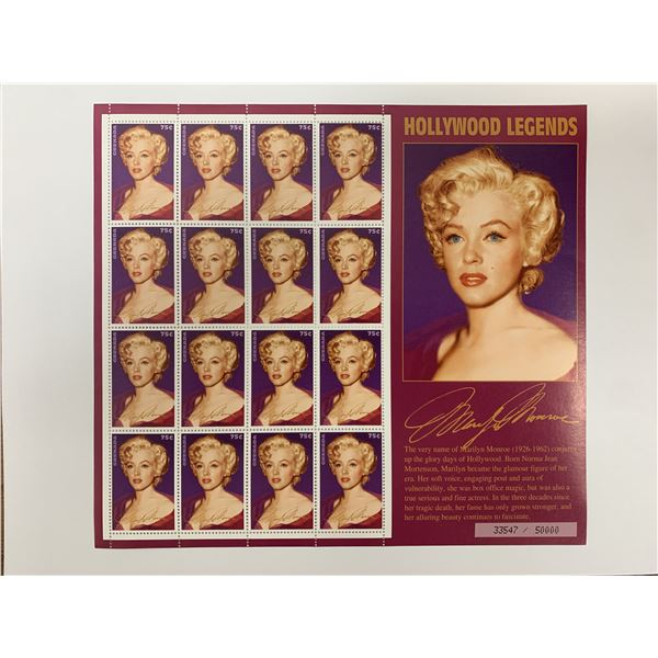 Marilyn Monroe Hollywood legends stamp sheet