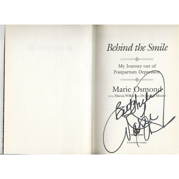 Behind the Smile: My Journey Out of Postpartum Depression Marie Osmond signed photo