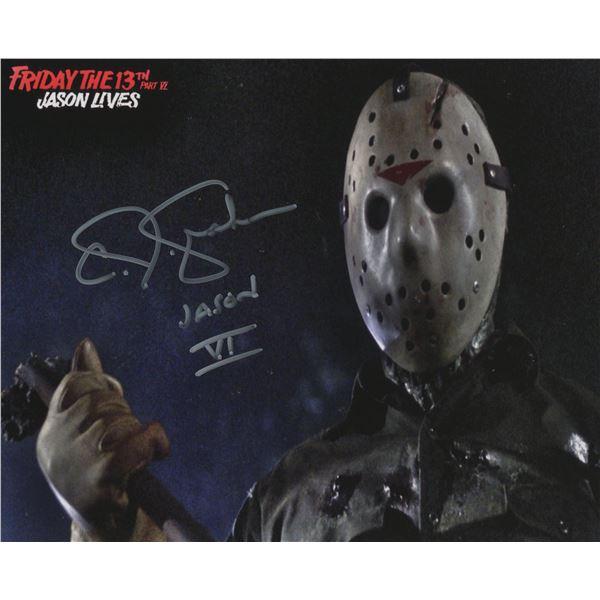 "C.J. Graham signed ""Friday the 13th Part VI Jason Lives"" signed movie photo"