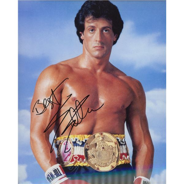 """Sylvester Stallone signed """"Rocky III"""" movie photo"""