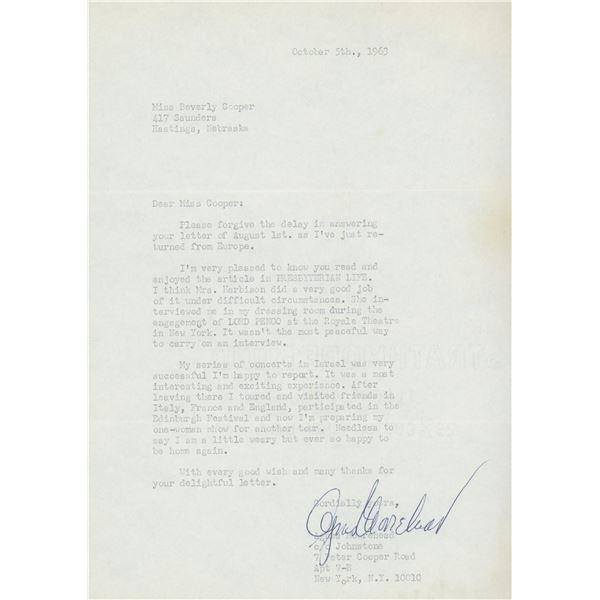 Agnes Moorehead BeWitched signed personal letter
