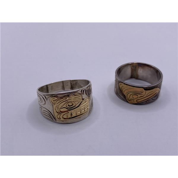 2- SILVER WEST COAST RINGS WITH INLAID 14K
