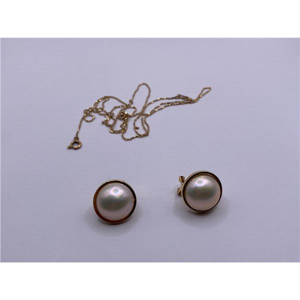 """10K 22"""" GOLD CHAIN AND PAIR OF 14 K EARRINGS WITH PEARLS"""