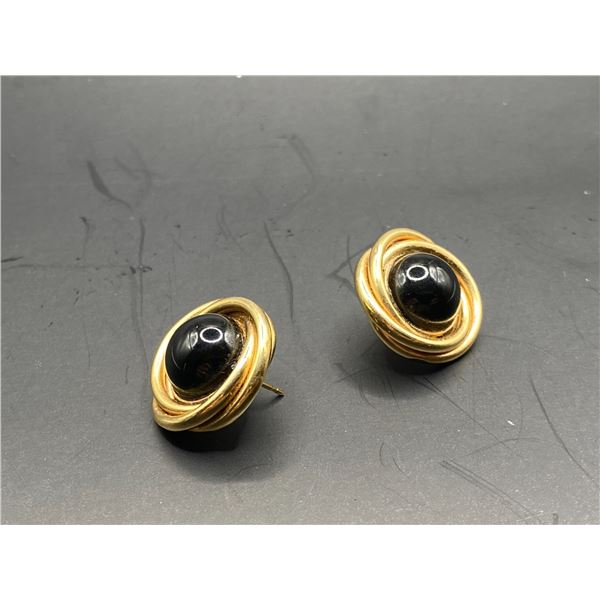 14K SPIRAL EARRINGS WITH ONYX