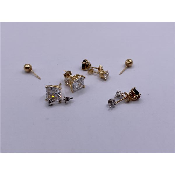5 PAIRS OF 10K EARRINGS ASSORTED DIAMONDS AND STONES
