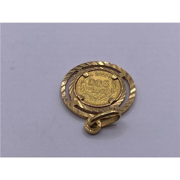 18 K PENDANT 1945 MEXICO GOLD COIN
