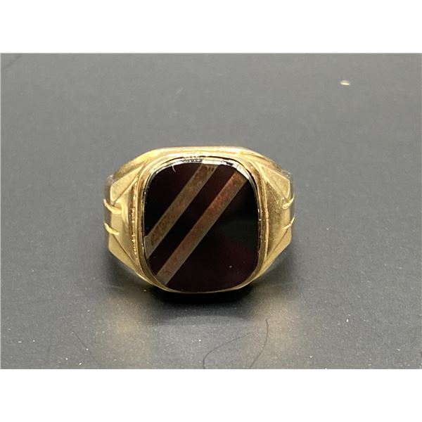 10K PINKIE RING WITH ONYX